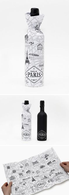 Creative idea to use a map as packaging to represent the wine where comes from. Wine Design, Map Design, Bottle Design, Label Design, Graphic Design, Glass Design, Smart Packaging, Bottle Packaging, Brand Packaging