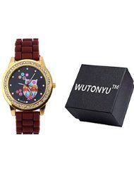 WUTONYU(TM) Women's Colorful Retro Owl Diamond Numbers Silicone Band Quartz Wrist Watch (Brown) by WUTONYU $9.99Prime