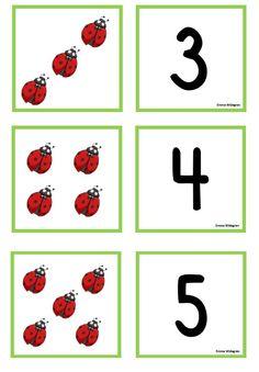 Uppdatering av snöflingememory och nyckelpigememory | Emma Basic Math, Preschool Activities, Ladybug, Worksheets, Numbers, Kindergarten, Education, Counting, Blog