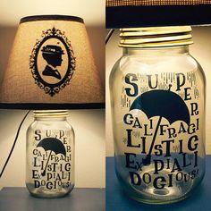 Mary Poppins Inspired Mason Jar Character Lamp
