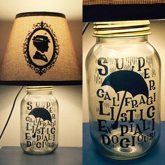 Mary Poppins Inspired Mason Jar Character Lamp by PracPerfCrafts