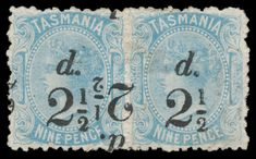 Abacus Auctions / Public Auction 231 - Saturday November 2018 AEST) - / TASMANIA / Lot TASMANIA - on pale blue Double Surcharge One Inverted SG horizontal pair, a couple of minor blemishes, large-part o. Queen Vic, Tasmania, Auction, Clip Art, Victorian, Australia, Stamp, Couple, Antiques