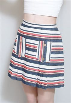 Vintage 1990's Blue And Red Striped Mini Skirt