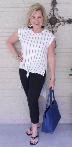 50 IS NOT OLD | CASUAL FRIDAY STYLE | FASHION OVER 40 | Black and White | Stripes | High/Low Style | Fashion over 40 for the everyday woman
