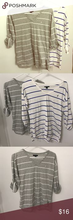 Bundle Nautica shirts Three quarter length sleeve stripped Nautica shirts, both medium and 100% cotton. Machine washable. Bundle with another item in my closet and save 15%! Nautica Tops Tees - Long Sleeve