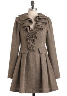 Cocoa Shavings Coat by Ryu - Brown, Solid, Pleats, Ruffles, Long Sleeve, Long, 3, Party, Casual, Vintage Inspired, French / Victorian, Fall, Winter