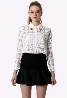 With a good pair of dark-wash jeans #Chicwish Floral Embroidery Shirt with Metal Peak Collar