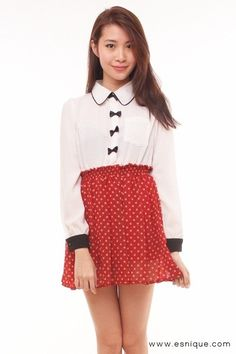 Vintage Bow and Polka Dot Dress Wine red - Esnique