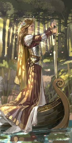 "#Fantasy #Artwork: An all time favorite. ""Who is this? And what is here? And in the lighted palace near Died the sound of royal cheer; And they crossed themselves for fear, All the Knights at Camelot; But Lancelot mused a little space He said, ""She has a lovely face; God in his mercy lend her grace, The Lady of Shalott."" Read in it's entirety: http://charon.sfsu.edu/tennyson/tennlady.html"