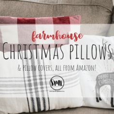 Farmhouse Christmas Pillows and Pillow Covers - Sweet Maple Lane Rustic Farmhouse Baskets and Bins for Organizing – Sweet Maple Lane Farmhouse Baskets, Country Farmhouse Decor, Farmhouse Style Decorating, Farmhouse Bathroom Accessories, Farmhouse Style Bedding, Listen To Christmas Music, Christmas Pillow Covers, Christmas Wonderland, Diy House Projects
