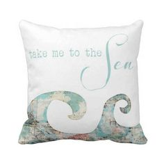 Pillow Cover Beach Decor Ocean Waves Take Me to the by JolieMarche