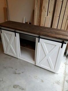 Sliding Barn Door Cabinets 43 Ideas For 2019 Decor, Rustic House, Barn Door Tv Stand, Home, Diy Furniture, Interior, Rustic Furniture, Barn Door Console, Home Remodeling