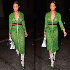 Rihanna Dolce and Gabbana printed silk twill caftan gown ...