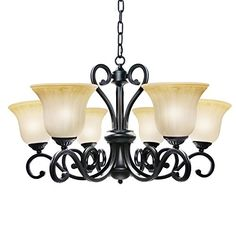 LNC Traditional Chandelier 6light Black Antique Pendant Lighting with Frosted Glass Shade for Dining Room Living Room Restaurant Bedroom -- See this great product. (Note:Amazon affiliate link) #LivingRoom