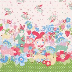 white My Melody pink bunny flower dot Sanrio oxford fabric 1