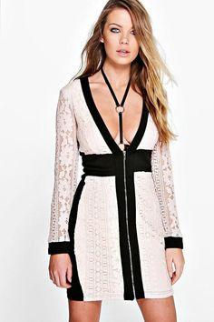 White dress black lace middle