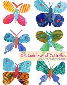 Eric Carle Inspired Butterflies Kids make painted paper and use templates to create a beautiful Eric Carle inspired butterfly. Easy craft for boys and girls. Crafts For Boys, Toddler Crafts, Projects For Kids, Art For Kids, Easy Crafts, Eric Carle, Art Papillon, Kindergarten Art Projects, Deep Space Sparkle