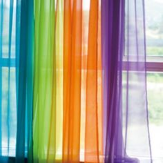 Bronte wants rainbow colours in her room love the idea of sheer curtains! More - Kids Curtains - Ideas of Kids Curtains Rainbow Curtains, Rainbow Bedroom, Colorful Curtains, Voile Panels, Sheer Curtain Panels, Panel Curtains, Sheer Curtains, Kids Room Curtains, Diy Casa