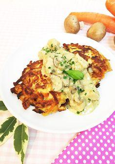 Puffer (ergibt ca. 6 Stück): 1 mittlereKohlrabi 2mittelgroße Möhren 2-3Eier (L) 80g Raspelkäse 30g Parmesan 1-2 EL Frischkäse 1 TL Guarkernmehl* 1-2EL Mandelmehl* Salz, Pfeffer Öl für die Pfanne Geschnetzeltes Züricher Art (ohne Alkohol) 500g Hähnchenfleisch 200g Champignons 2-3 mittelgroße Zwiebeln 200ml Sahne 200ml Wasser 1 EL weißen Balsamico 1 TL Zitronensaft 1/2 TL Xylit* oder anderen Zuckerersatz 1 TL Petersilie (TK) Salz, Pfeffer 1/2 TL Guarkernmehl* zur Bindung (optional...