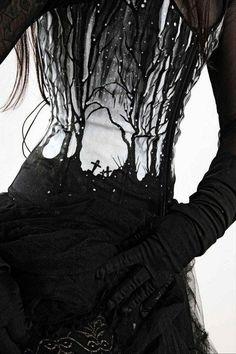 #estampado #bosque #mistico #cementerio #dark #gotico #vestido #oscuro #guantes #steampunk #epoca #negro #blanco