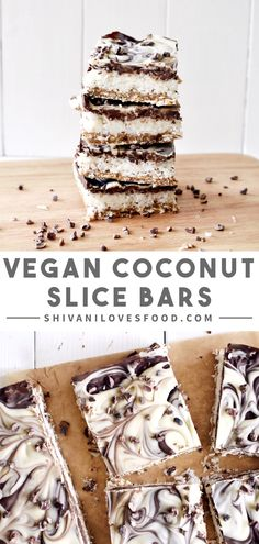 recipes snacks Vegan coconut slice An easy and healthy vegan dessert recipe: Coconut Slice! A date and oat caramel base topped with a sweet and crunchy coconut layer and marbled dairy-free chocolate - What a treat! Healthy Vegan Desserts, Vegan Treats, Healthy Dessert Recipes, Health Desserts, Raw Food Recipes, Gourmet Recipes, Coconut Recipes Vegan, Appetizer Recipes, Diet Recipes