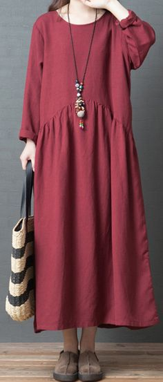25268813e54 French o neck wrinkled linen Long Shirts Casual Sewing red Traveling Dresses.  Omychic Linen Dress