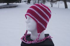 PINK!  Women's Crocheted Hat with Ear Flaps in Dark by TheTipsyTurtle, $25.00
