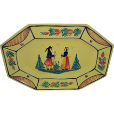 HB HenRiot Quimper France Soleil Yellow Breton Couple Platter Tray  www.rubylane.com #vintage #antiques #platter