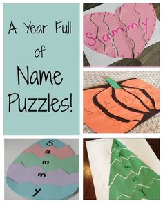 SO many fantastic ideas for name puzzles for preschoolers! Who doesn't love a good name game? These are perfect ways for kids to learn and practice cutting and building their names. Name Activities Preschool, Name Writing Activities, Kids Learning Activities, Alphabet Activities, Preschool Art, Fun Learning, Preschool Activities, Preschool Projects, Preschool Education