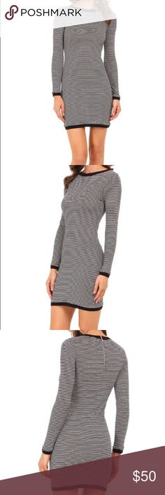French Connection Bodycon Striped Dress NWT! Black, gray and sliver striped bodycon mini dress from French Connection. Material is 68% viscose, 22% cotton, 5% nylon. Dress runs a bit small - this would probably be best for someone who generally wears a size 8 in dresses. Stock photos have been included for fit. Sales only, no trades please - I'm trying to free up space in my closet:) French Connection Dresses Mini
