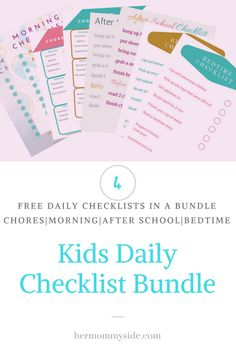 Kids Daily Checklist Bundle: I felt it was time for a daily checklist makeover to put routine back in place for the kids! Use one of these free checklist bundles to help your child stay on track each day.