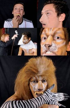 Mesut Ozil as a lion? Odd and freaky.