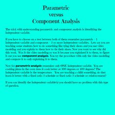 Parametric  versus  Component Analysis