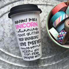 Reasons to be a Unicorn Unicorn Mug  Hand by MorningSunshineShop