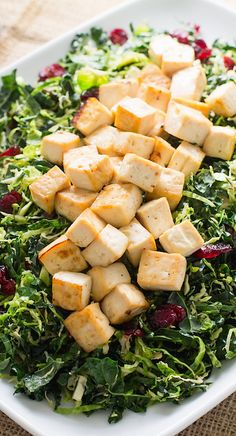 Warm Brussels Sprout & Kale Salad with Maple Glazed Tofu | vegan Thanksgiving dish! #SoyInspired #ad
