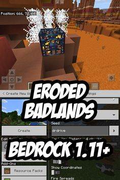 Awesome Bedrock Edition badlands mesa seed for Minecraft PE/Bedrock Edition w/exposed spawners, surface minecart chests and abandoned mineshafts. Minecraft Plans, Minecraft Survival, Minecraft Projects, Minecraft Designs, Minecraft Houses, Cool Minecraft Seeds, Minecraft Wallpaper, First Pokemon, Minecraft Construction
