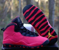 check out 1785f fc280 Nike Girls Air Jordan 10 Retro GS 5.5Y Fusion Red Black Basketball  487211-605