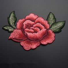 - 2 X Red Rose Flower Embroidery Applique Cloth Diy Sewing & Iron On Patch Badge & Garden Rose Applique, Rose Embroidery, Embroidery Patches, Embroidery Applique, Machine Embroidery Designs, Embroidery Patterns, Wedding Embroidery, Patches Diy, Cheap Patches