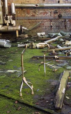 Walking Sticks left in the Boiler Room at  Hellingly Asylum - Closed 1994 to the living....