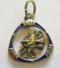 Antique Art Nouveau German 800 Silver & Enamel Chimney Sweep Charm ~ Sweet! #Unbranded #AntiqueArtNouveau