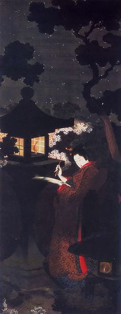 夜桜美人図  12811_03 出典:葛飾応為《夜桜美人図》抒情と科学の暗闇  メナード美術館蔵  白く石灯籠の明かりが娘の顔や手元や桜を浮かび上がらせ、着物の朱を足元の雪見灯籠の小さな明かりが照らす。白い点描に加え、淡い藍や紅を一点二点と描き加え、夜空の星の明るさの等級の違いを表わすために、5種類くらいの描き分けが見られる。