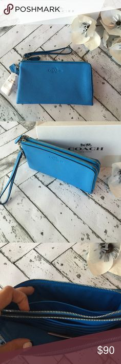 NWT COACH Wristlet Brand new with tags authentic Coach Wristlet! Gorgeous summer blue pebbled leather finished with silver hardware. Double zipper compartments, both include credit card slots. Wristlet leash is detachable to carry as either a wristlet or just a wallet.  Comes packaged in a coach gift box! Coach Bags Clutches & Wristlets