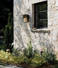 Harbor Outdoor Wall Light by Hinkley Lighting Stone Exterior Houses, Old Stone Houses, Stucco Exterior, Wall Exterior, Exterior Remodel, Stone House Exteriors, Austin Stone Exterior, Exterior Siding Options, Exterior Design