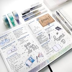 "focusign: ""My spread during finals week - I thought the notebook and pen stickers were very approriate :') studygram """