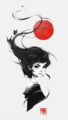 That One Geisha, Vince Ruz on ArtStation at https://www.artstation.com/artwork/lbmqe
