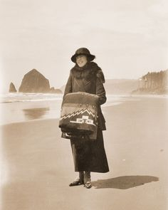 woman with Pendleton blanket at Cannon Beach Oregon 1918 Cannon Beach Oregon, Sky Full Of Stars, Oregon Coast, Four Square, Classic Style, Peeps, Winter Jackets, Blanket, History