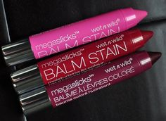 Review and swatches of Wet n Wild Megaslicks Balm Stain in A Stiff Pink, Red-Dy Or Not, and The Lady Is A Vamp.