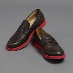 51528d4fd92 Thomas Dean Made in Italy Polished Leather Penny Loafers with Contrast  Rubber Bottoms  335