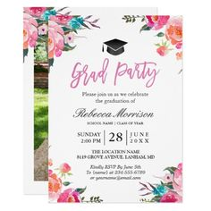 137 best pink graduation invitations images on pinterest flower watercolor botanical pink floral graduation party card filmwisefo