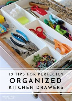 Tired of not being able to find anything in your messy, cluttered kitchen drawers? These 10 tips will help you organize your kitchen drawers, saving you time in the kitchen! #organizingclutter